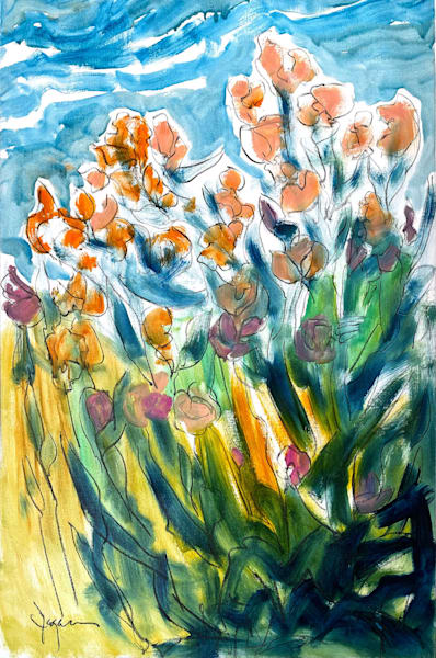 Oversize Flower Painting, Original Oil Charcoal by Dorothy Fagan