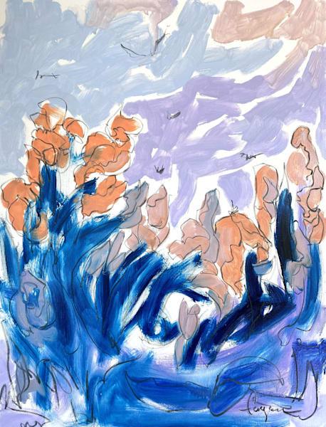 Peach Blue Flower Painting, Original Art by Dorothy Fagan