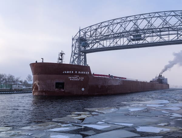 James R Barker under Duluth Aerial Lift Bridge