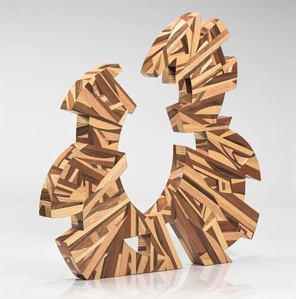 "Puzzled Harmony   24""H X 23""W X 2""D  Hardwood Veneers On Wood Base   Patrick M. Parise"