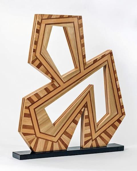 "Puzzled Harmony 3   31""H X 24""W X 2""D   Hardwood Veneers On Wood Base   Patrick M. Parise"