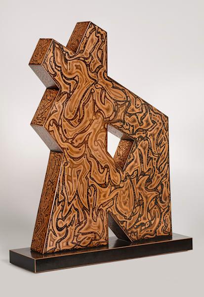 "Puzzled Harmony 7   32""H X 25""W X 3.5""D   Etched Copper Plates On Wood Base   Patrick M. Parise"