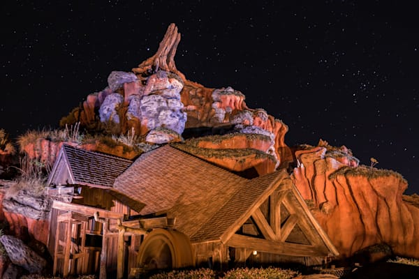 Splash Mountain At Night Photography Art | William Drew Photography