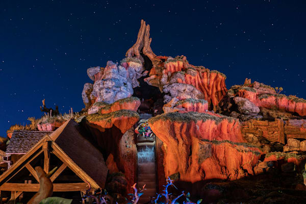 Splash Mountain Drop At Night Photography Art | William Drew Photography