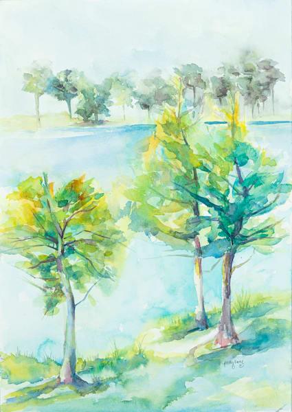 Lakeside Trees I Art | ArtByPattyKane