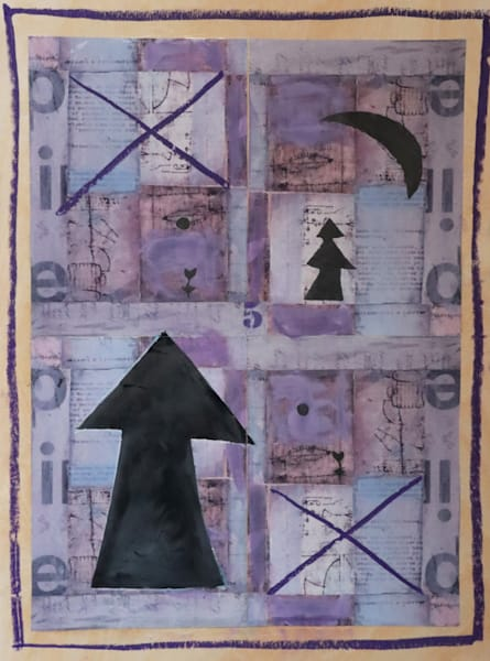 A collage of black figures of tree, moon and arrow