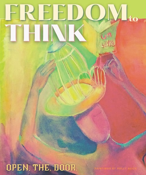 Freedom To Think Green Art   Polly Alice Design