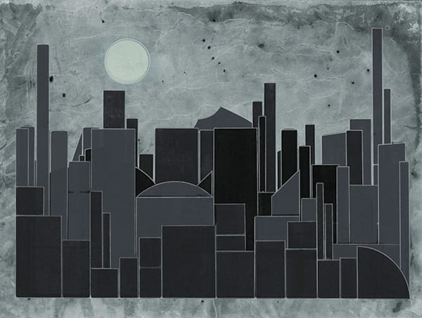 City Nights 30 X 40 Multiple Plate Etching (Mono Print) Art | Patrick M. Parise