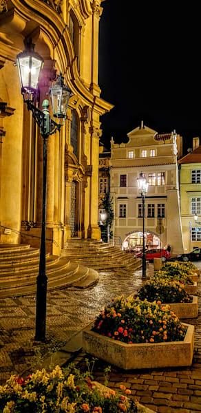 Flowers, Lamplight, And St. Nicholas Church   Prague Photography Art | Photoissimo - Fine Art Photography