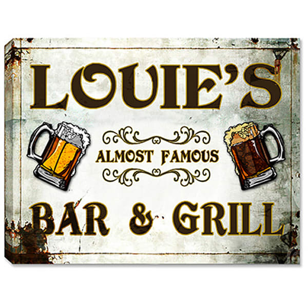 Personalizable Almost Famous Bar & Grill Canvas Sign Or Poster (3 Sizes) | Photo 2 Canvas Direct
