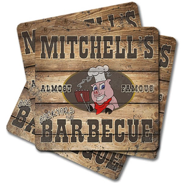"Personalizable Backyard Barbecue 4"" Square Coasters   (Set Of 4, 8, 12)   Photo 2 Canvas Direct"