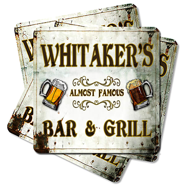 """Personalizable Almost Famous Bar & Grill 4"""" Square Coasters   (Set Of 4, 8, 12)   Photo 2 Canvas Direct"""