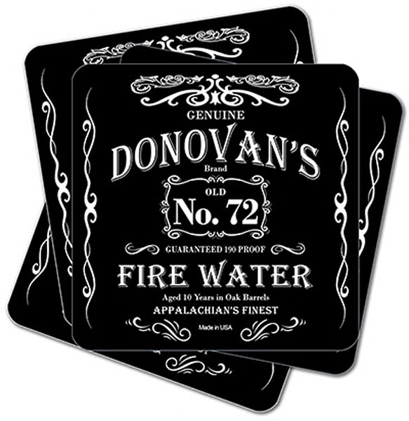 """Personalizable Fire Water Whiskey 4"""" Square Coasters   Set Of 4   Photo 2 Canvas Direct"""