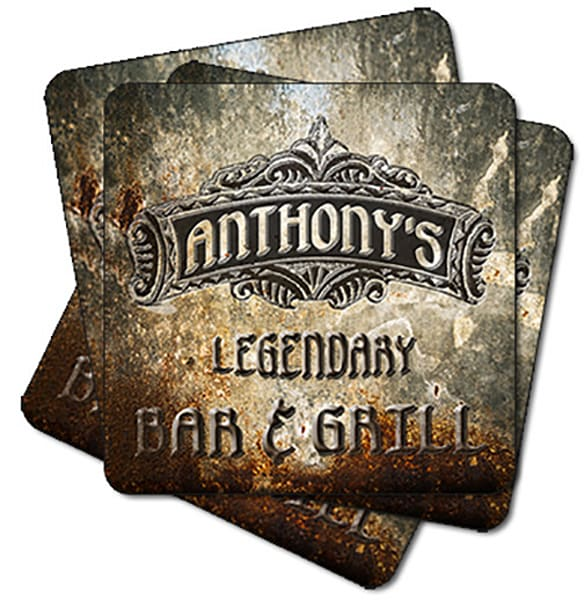 """Personalizable Legendary Bar & Grill 4"""" Square Coasters   Set Of 4   Photo 2 Canvas Direct"""