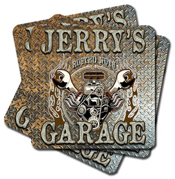"""Personalizable Rusted Nuts Garage 4"""" Square Coasters   Set Of 4   Photo 2 Canvas Direct"""