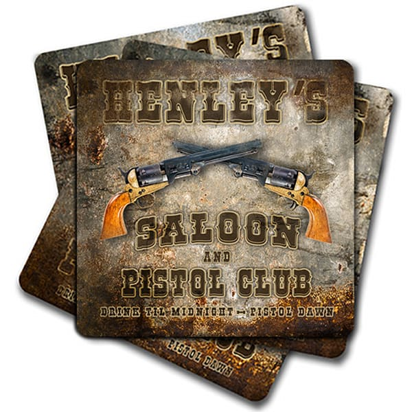 """Personalizable Saloon & Pistol Club 4"""" Square Coasters   (Set Of 4, 8, 12)   Photo 2 Canvas Direct"""
