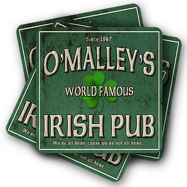 "Personalizable World Famous Irish Pub 4"" Square Coasters   Set Of 4   Photo 2 Canvas Direct"