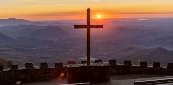 Print of sunrise over the cross at The Pretty Place Chapel