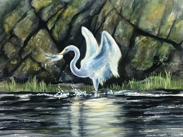 Egret with Fish painting by Holly Whiting