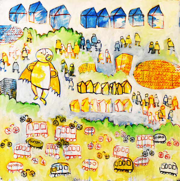 Fun and bright painting by Eddie Hamilton