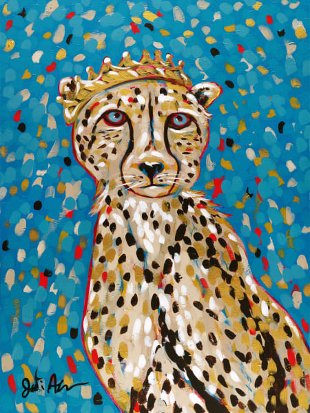 A portrait of a colorful cheetah wearing a golden crown.