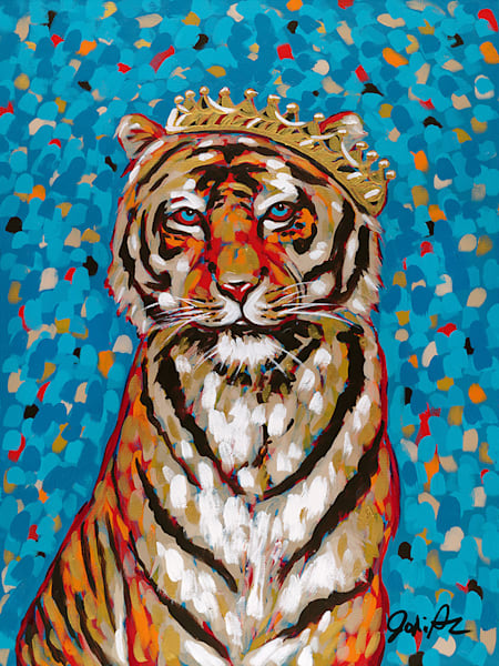 An original acrylic painting of a wild tiger wearing a golden crown.