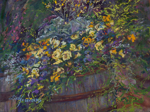 Lindy Cook Severns Art | Potted Pansies, print
