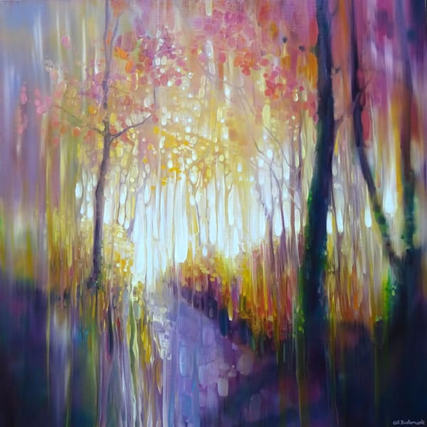 oil painting of an autumn path with autumn colours in semi-abstract style