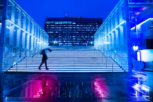 rain photo, Los Angeles, the music center, blue, pink, stairs, city, Los Angeles Rain, City Photography, Downtown LA, Geometric Architecture, Rain Wall Art Print, Street Photography