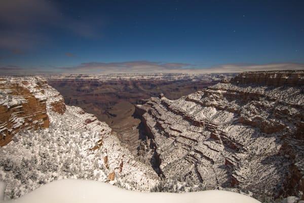 Grand Canyon, snow, night, Arizona, stars, photograph, photo, nine
