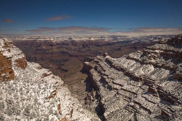 Grand Canyon, snow, night, Arizona, stars, photograph, photo, eight