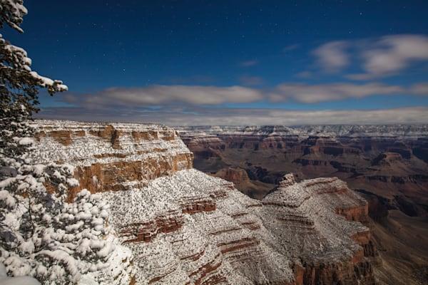 Grand Canyon, snow, night, Arizona, stars, photograph, photo, 1