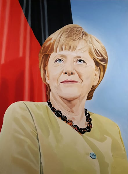 Angela Merkel   Original Oil Painting Art | davemartsolf
