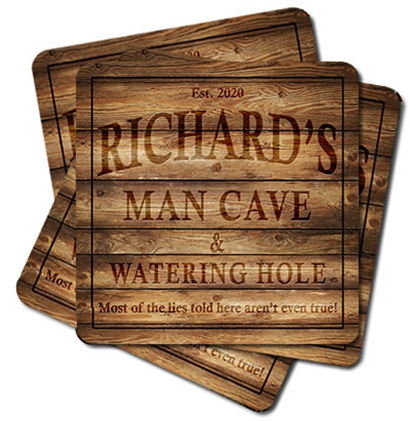 """Personalizable Man Cave & Watering Hole 4"""" Square Coasters   Set Of 4, 8, 12   Photo 2 Canvas Direct"""