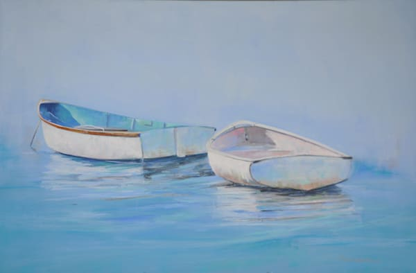 Two White Boats Photography Art   The Colors of Chatham