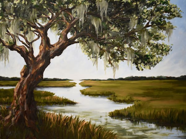Giclee Art print- Oak Tree over the Coastal Marsh