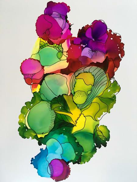 Green Jeweled Floral, Original Art   Sandy Smith Gerding Artwork