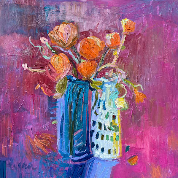 Soul Sisters Oil Painting, Pink Still Life by Dorothy Fagan