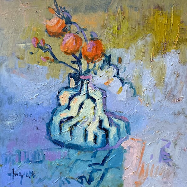 Goddess Painting, Blue Floral Still Life Oil by Dorothy Fagan