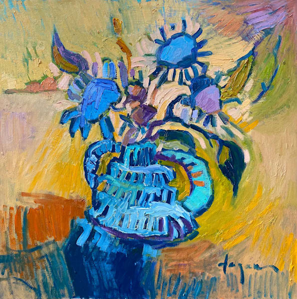 Contemporary Blue Still Life Oil Painting by Dorothy Fagan