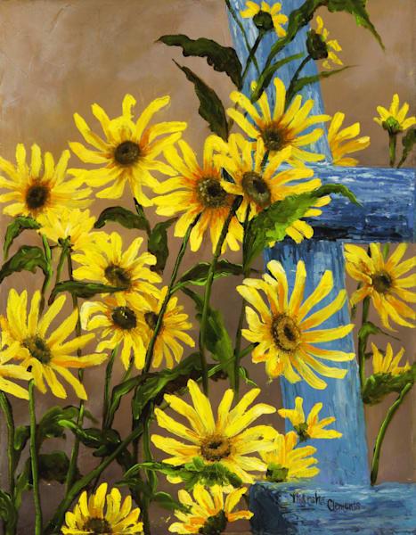Blue Ladder And Sunflowers Art | Marsha Clements Art