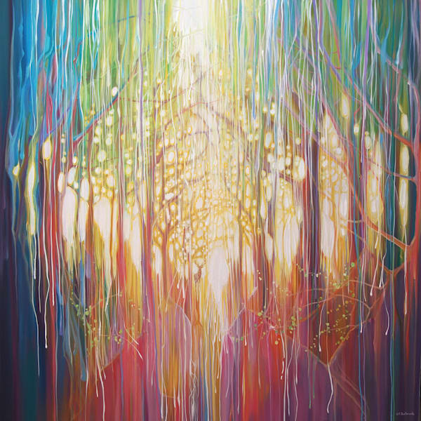 rainbow coloured forest path with stag