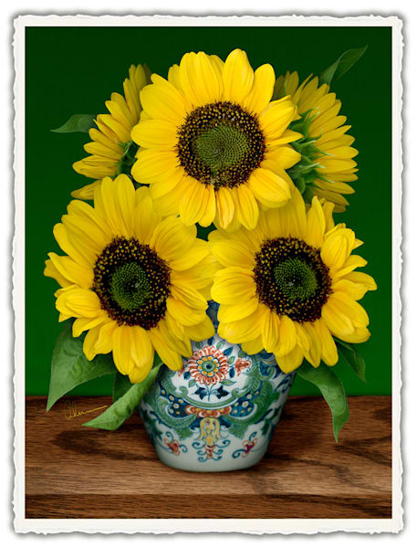 Sunflowers in a Makkum Pot-Homage to van Gogh. Frameable Note Cards by the artist, Mary Ahern