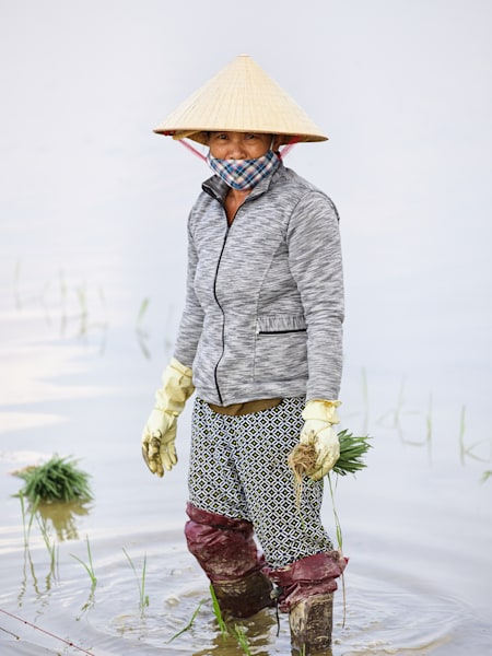 An unscripted portrait of a woman rice farmer in the water captured outside of Hoi An, Vietnam.