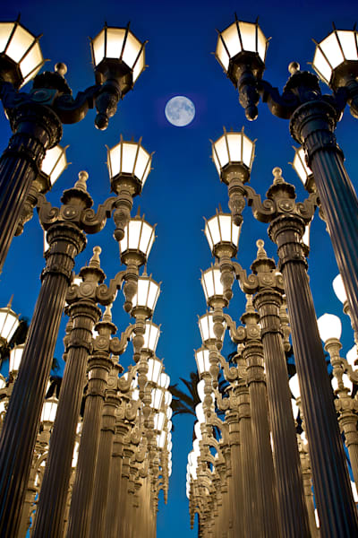 LACMA, lamps, lights, moon, blue sky, Los Angeles City Photography, LACMA lights and Moon, LA Fine Art Print, Iconic Photography, Urban Landscape, Geometrical Architecture