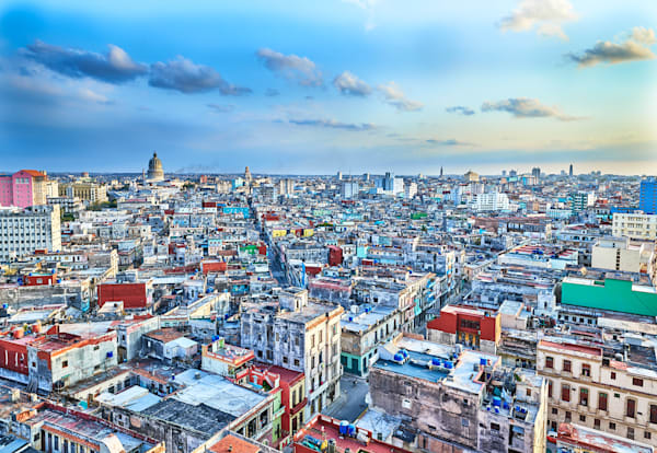 A limited edition rooftop view of Havana, Cuba at dusk.