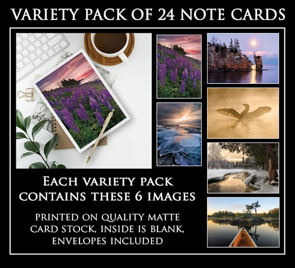 Note cards by photographer Ryan Tischer in pack of 6, pack 2 (24 total)