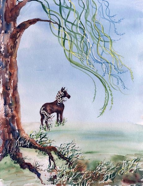 "Original Watercolor, ""Windswept""  Art | Color Splash Ranch"