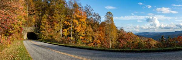 A Blue Ridge Parkway Tunnel In Autumn Print