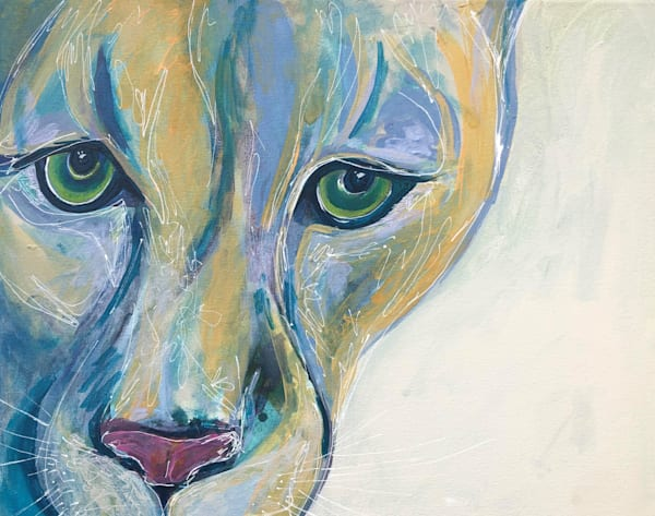 cougar painting, mountain lion art, wild animal portrait, pacific northwest animals